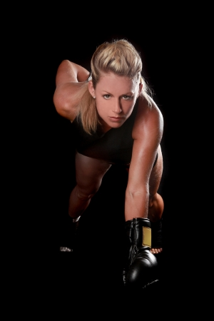 Intense Female With Boxing Gear Foto de archivo