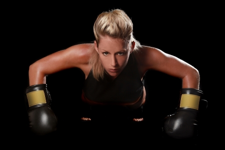 Intense Female With Boxing Gear Stok Fotoğraf