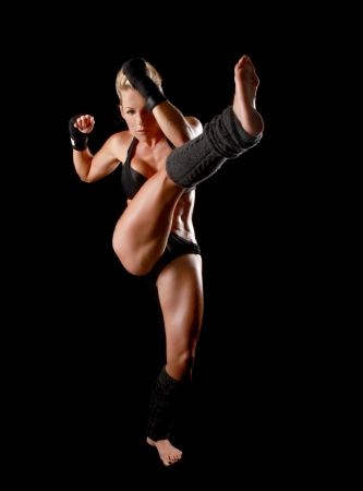 Intense Female With Boxing Gear Stock Photo