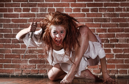 Woman in Horror Situation With Bloody Face Reklamní fotografie - 14789618