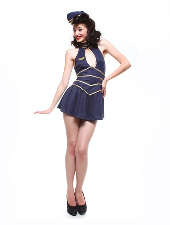 hot girl legs: Sweet Sailor Pin Up Style Retro Girl