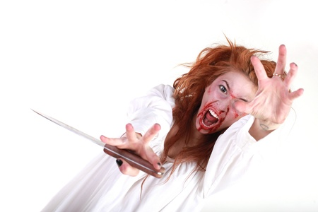 dismay: Woman in Horror Situation With Bloody Face