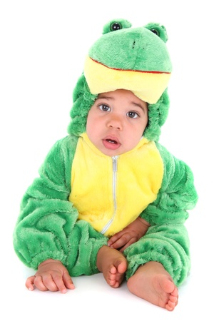 Baby boy dressed in a frog costume photo