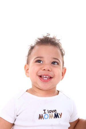 Adorable Infant Baby Boy on White Background photo
