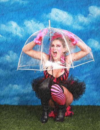 Fun Fantasy Image of a Woman Under Umbrella While Raining  Stock Photo - 15154323
