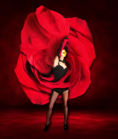 Sexy Woman Dancer Wearing Red Rose Dress  photo