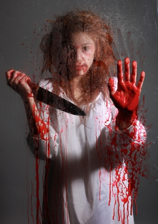 Woman in Horror Situation With Bloody Face Stock Photo - 15154312
