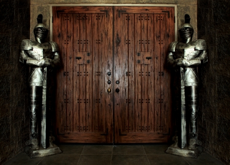 Entrance Protected by Knights Wearing Armor Stock Photo - 16833136