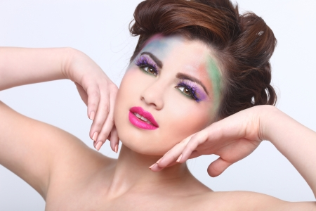 Woman With Colorful Creative Cosmetics on White Stock Photo - 17457790