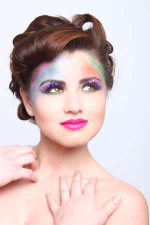 Woman With Colorful Creative Cosmetics on White Stock Photo - 17457801