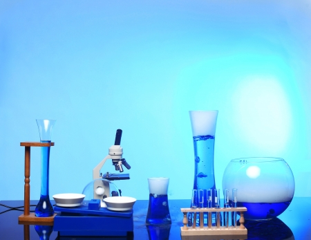 School Desk With Science Equipment in Use Stock Photo - 17499599