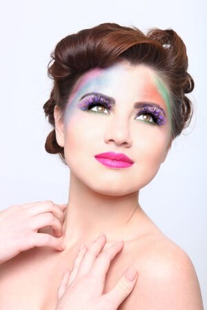 Woman With Colorful Creative Cosmetics on White Stock Photo - 17457800