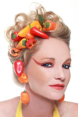 Conceptual Creative Image of Peppers Integrated into Hair Stock Photo - 17457531