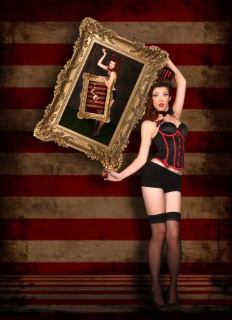 Circus Themed Pin Up Sexy GIrl Stock Photo - 17457579
