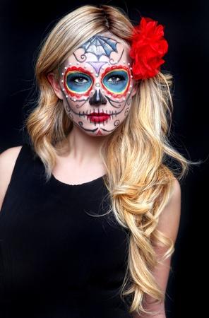Stunning Blonde Woman With Painted Sugar Skull Art Stock Photo - 17457798