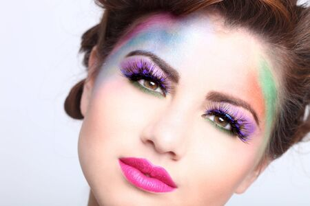 Woman With Colorful Creative Cosmetics on White Stock Photo - 17457786