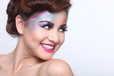 Woman With Colorful Creative Cosmetics on White Stock Photo - 17457802