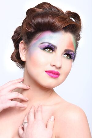 Woman With Colorful Creative Cosmetics on White Stock Photo - 17457797
