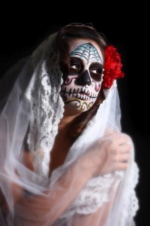 Cara Pintada para el Día de los Muertos en una mujer Foto de archivo - 17827526