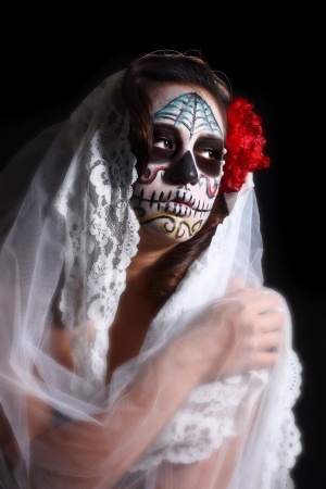 Face Painted for Day of the Dead on a Woman Stock Photo - 17827526