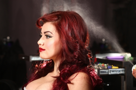 hair stylist: Hairstylist Spraying Hairspray Onto A Customer