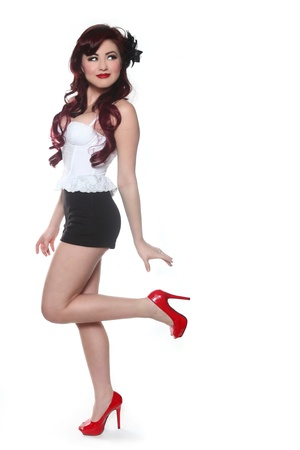 Beautiful Pin Up Style Girl in Studio Stock Photo - 17827509