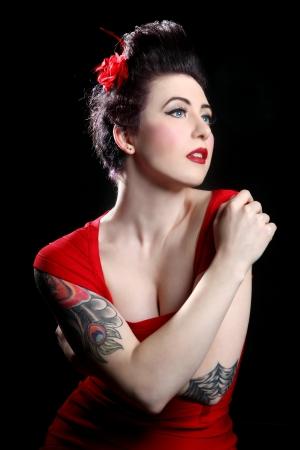 Beautiful Pin Up Style Girl in Studio Stock Photo - 17827518