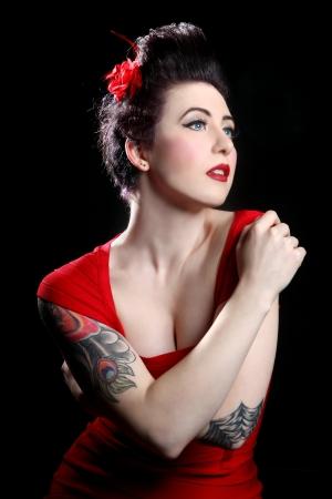 Beautiful Pin Up Style Girl in Studio photo