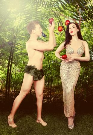 Fantasy Adam and Eve Conceptual Image Stock Photo