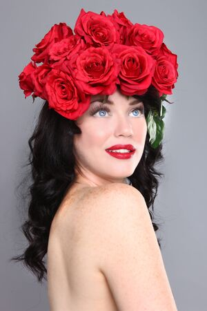 Beautiful Woman With Flowers in Her Hair Stock Photo - 18349040