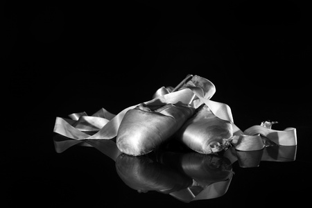 Closeup Pair of Ballet Pointe Shoes Stock Photo - 18365653