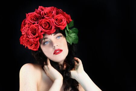 Beautiful Woman With Flowers in Her Hair Stock Photo - 18349064