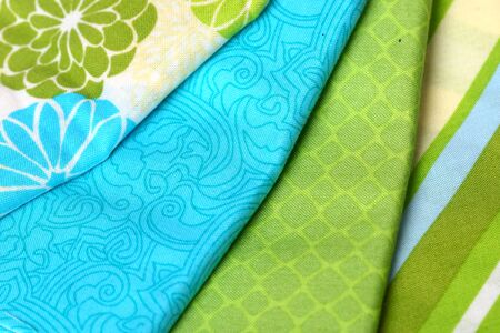 Colorful Palette of Fabric: Blue and Green Stock Photo - 19485861