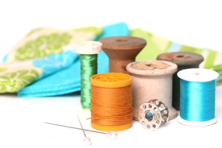 Sewing and Quilting Thread With Notions On White Stock Photo - 19485721