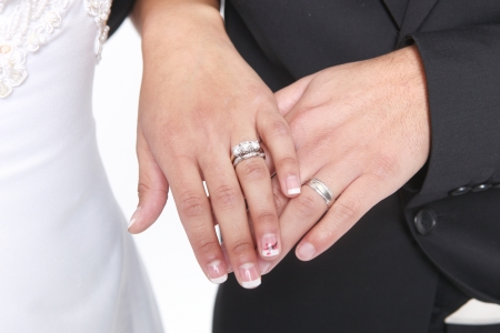 Hand of a Married Couple With Wedding Rings and Bands Stock Photo - 19485799