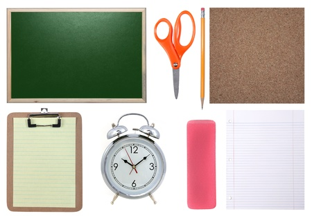 School Supplies Isolated: Chalkboard, Paper, Scissors, Pencil and Corkboard Stock Photo - 19485797