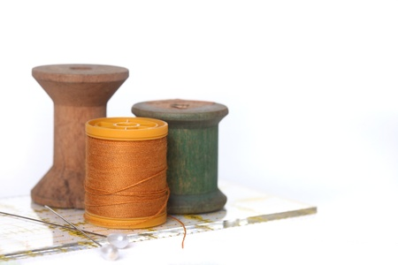 Sewing and Quilting Thread With Notions On White Stock Photo - 19485634