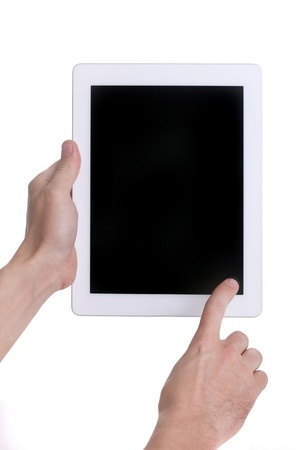 Hands Holding a Tablet Touch Computer  Stock Photo - 19485578