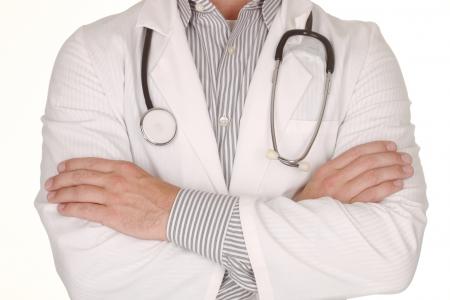 trustworthy: Trustworthy Male Doctor Wearing Stethoscope on White Background Stock Photo