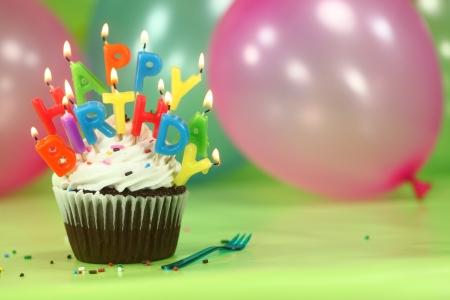 birthday balloon: Happy Birthday Celebration with Balloons Candles and Cake Stock Photo