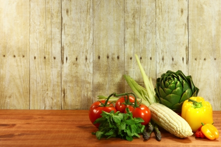bell peppers: Bunch of Grocery Produce Items on a Wooden Plank Stock Photo
