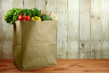 bagged: Bagged Grocery Produce Items on a Wooden Plank