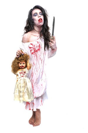 psychotic: Scary Horror Image of a Bleeding Psychotic Woman With Knife