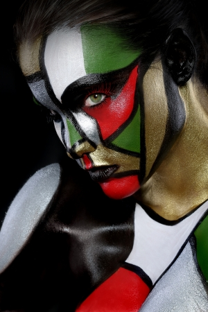bodypaint: Beautiful Woman Painted Like Stained Glass Window Beauty Concept
