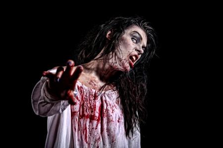 ホラーのテーマ イメージで精神病の女性を出血 写真素材