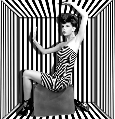 high contrast: High Fashion Woman With Stripes Boxed