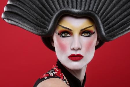 Modern Beauty Concept of a Geisha Girl Stok Fotoğraf