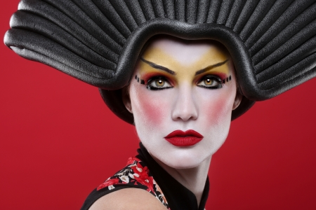 Modern Beauty Concept of a Geisha Girl Banque d'images