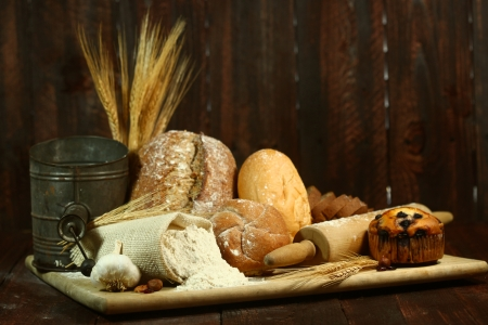 bakery products: Fresh Baked Bread on Wooden