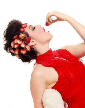 Woman With Strawberries in her Hair on White  photo